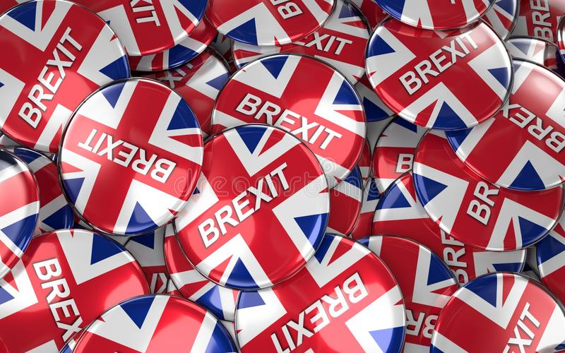 Stor hög av Brexit emblem stock illustrationer