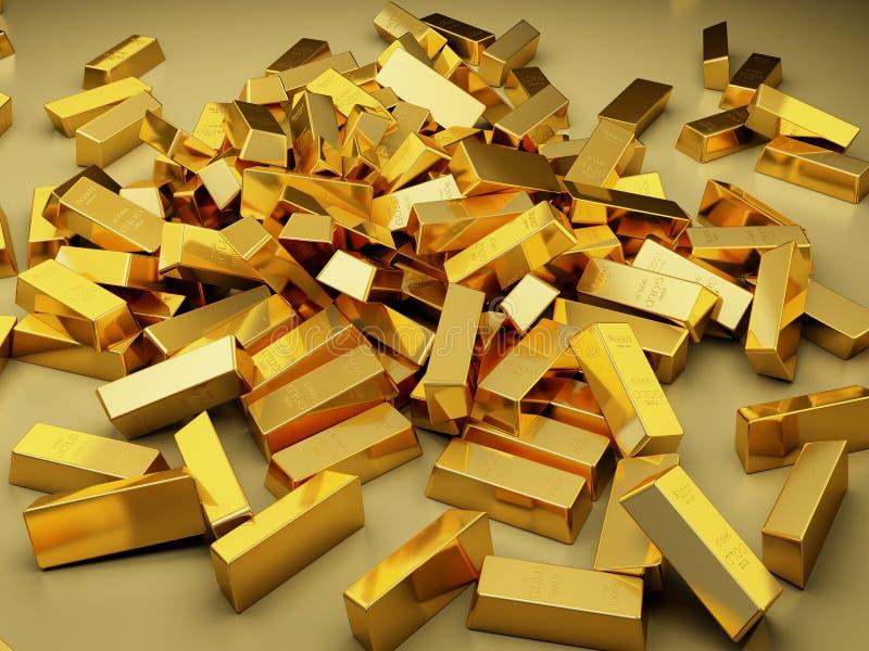 Stor hög av guld- stänger stock illustrationer