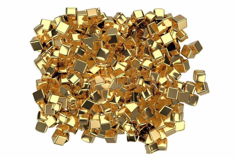 Stor hög av guld- stänger i formen av askar, illustration som 3D isoleras på vit bakgrund Begreppsmässig återgivning av vektor illustrationer