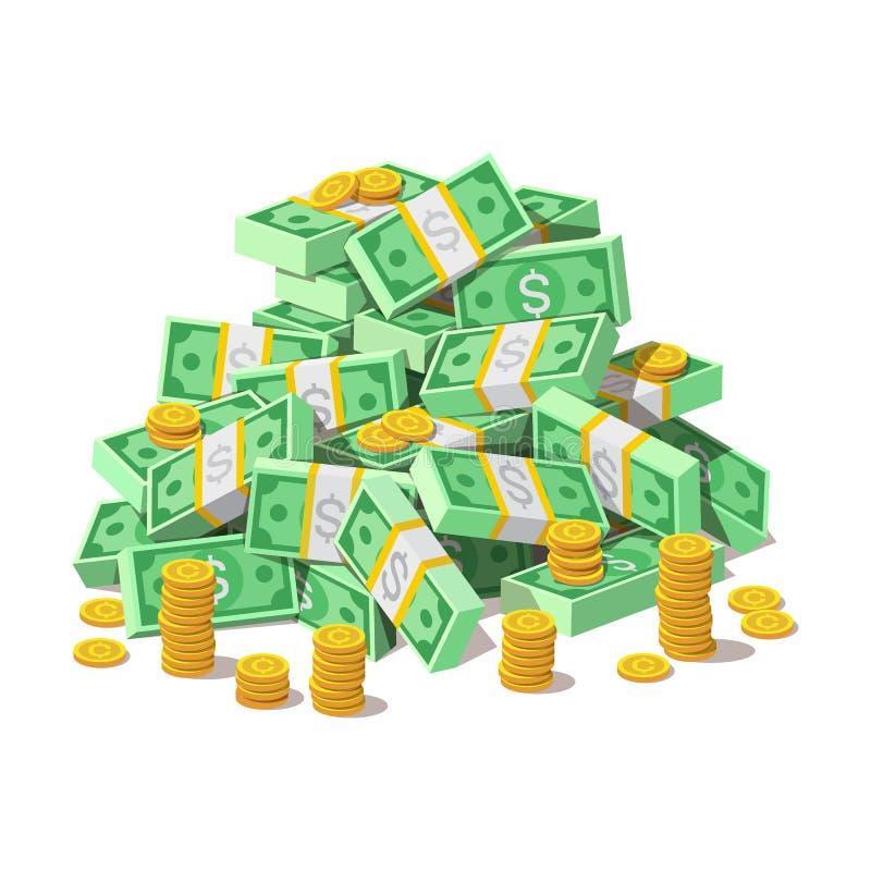 Stor hög av kontanta pengarsedlar och guld- mynt, cent stock illustrationer