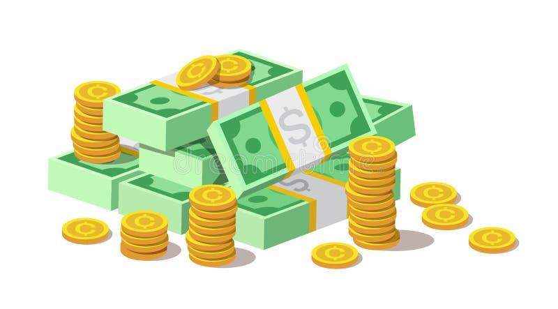 Stor hög av kontanta pengarsedlar och guld- mynt, cent royaltyfri illustrationer