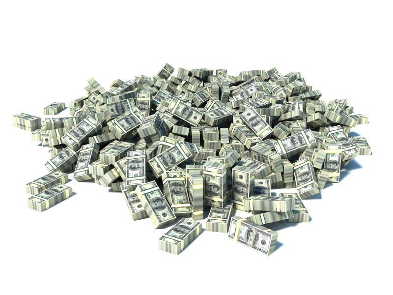 Stor hög av pengar. dollar över vit bakgrund royaltyfri illustrationer