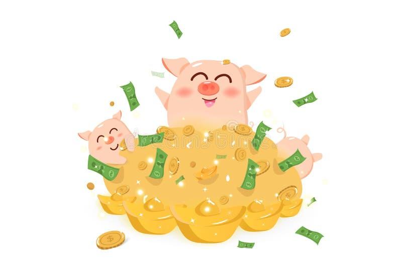 Stor hög av pengar med svinet, år av svinet, kinesiskt nytt år, gullig illustration för vektor för tecknad filmtecken royaltyfri illustrationer