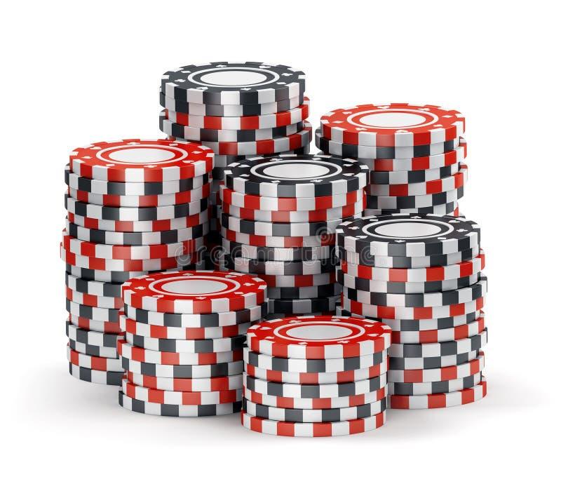 Stor hög av svarta och röda kasinotecken stock illustrationer