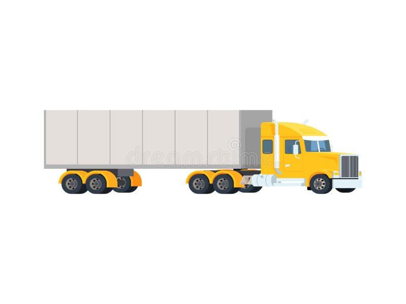Stor halv lastbil Logistiskt begrepp och trans. för leveranslastautomatisk Den tunga amerikanska röda traktoren drar släpet royaltyfri illustrationer