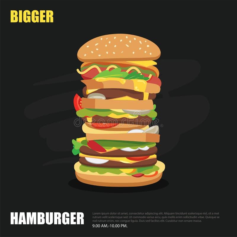 Stor hamburgare på design för svart tavlabakgrundslägenhet vektor illustrationer