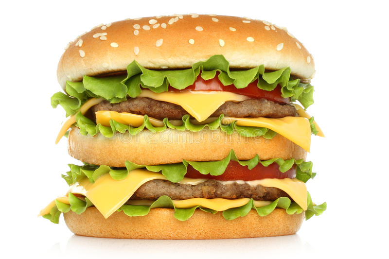 Stor hamburgare på vit bakgrund royaltyfri bild