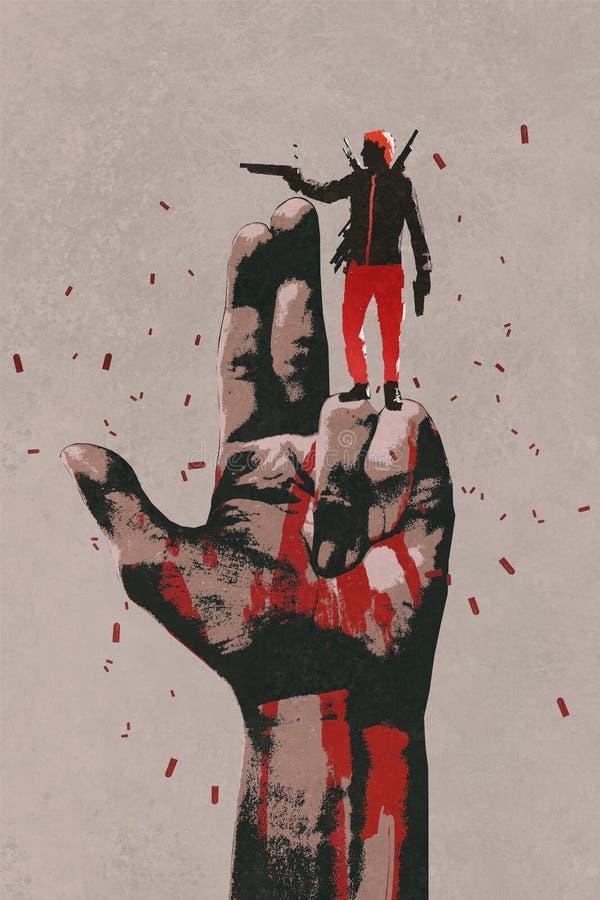 Stor hand i vapentecken med manskyttevapnet stock illustrationer