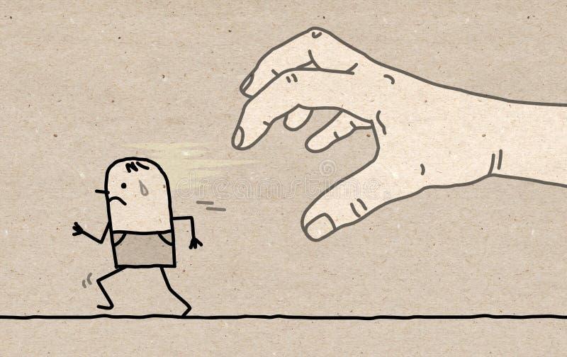 Stor hand med tecknad filmteckenet - fånga och köra royaltyfri illustrationer