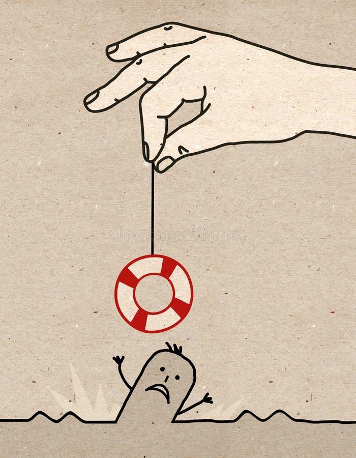 Stor hand - räddningsaktion royaltyfri illustrationer