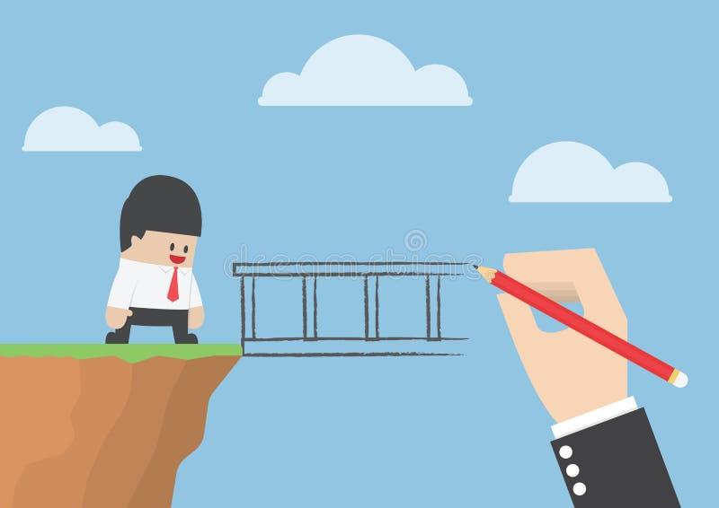 Stor hand som drar en bro för att hjälpaffärsman ska korsa avgrund royaltyfri illustrationer