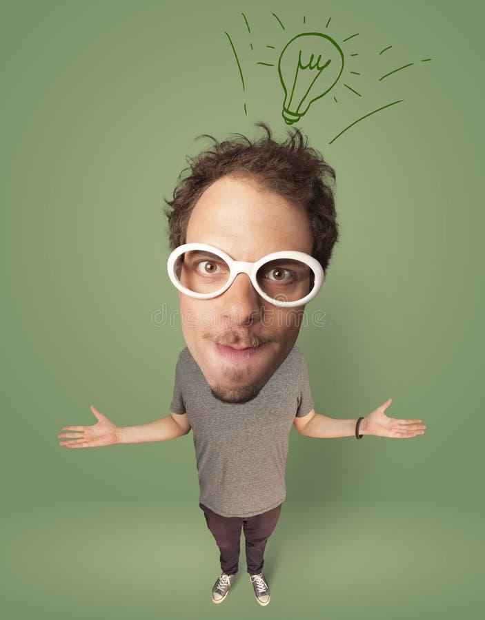 Stor head person med idékulan stock illustrationer