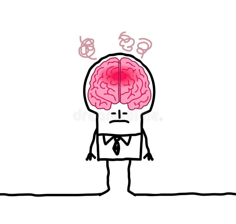 Stor hjärnman & feber stock illustrationer