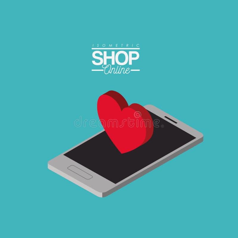 Stor hjärta över den isometriska färgrika affischen för smartphonen shoppar direktanslutet vektor illustrationer