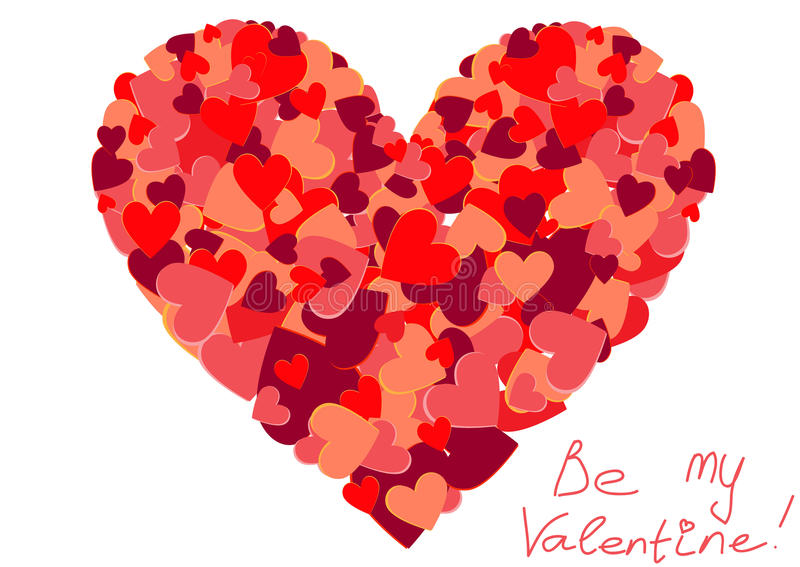 Stor hjärtaform fyllde med färgrika små hjärtor stock illustrationer