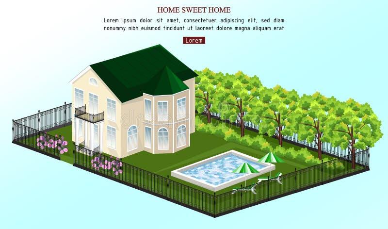 Stor husvektor Klassisk stil för vitt hus med pölen utomhus vektor illustrationer