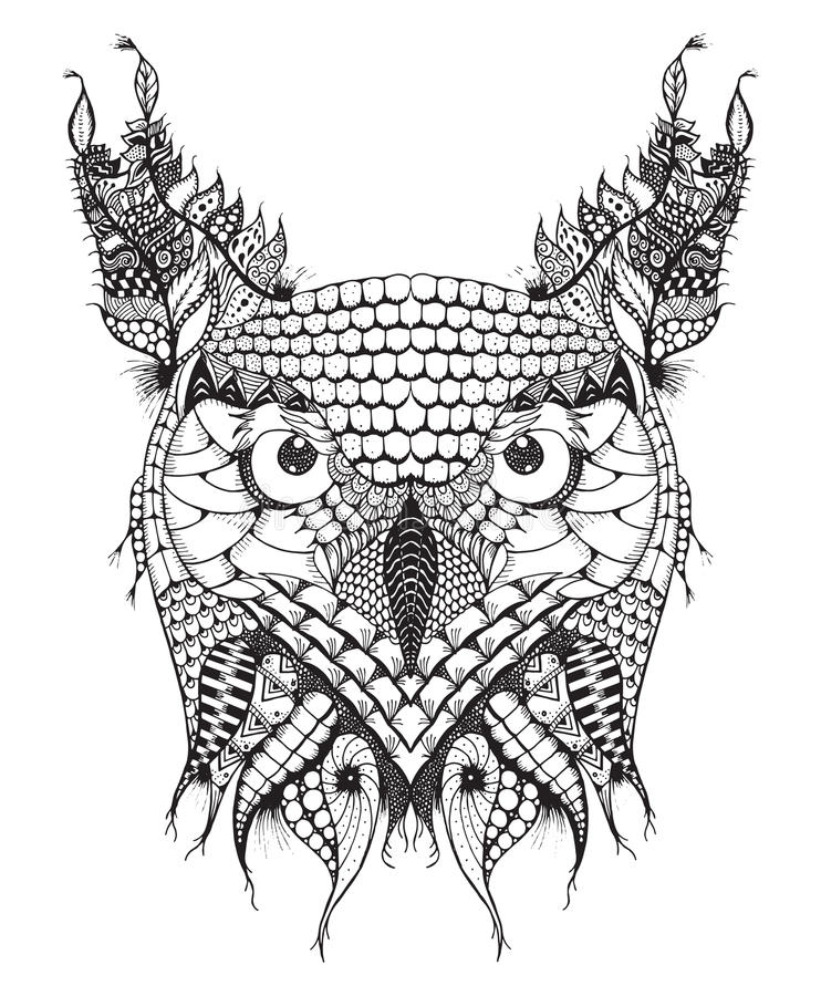 Stor huvudzentangle för den horned ugglan stiliserade, vektorn, illustration, royaltyfri illustrationer