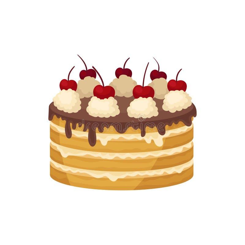 Stor i lager kaka med chokladglasyr, den piskade kräm- och röda körsbäret överst Läcker ferieefterrätt Plan vektor stock illustrationer