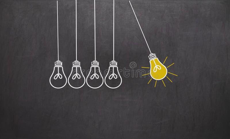 stor idé Kreativitetbegrepp med ljusa kulor på den svart tavlan stock illustrationer