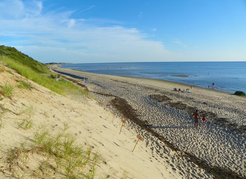 Stor ihålig strandshoreline norr Truro Cape Cod arkivfoto