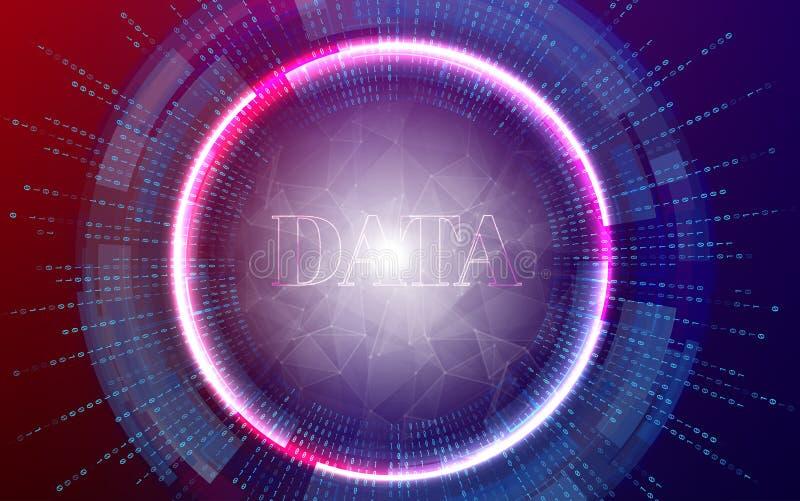 Stor illustration för databakgrundsvektor Informationsströmmar framtida teknologi Fractalbeståndsdel med binär kod royaltyfri illustrationer