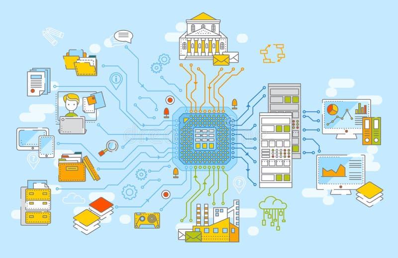 Stor illustration för databegreppsvektor Samling av information, data - bearbeta, informationsanalysys, datalagring stock illustrationer