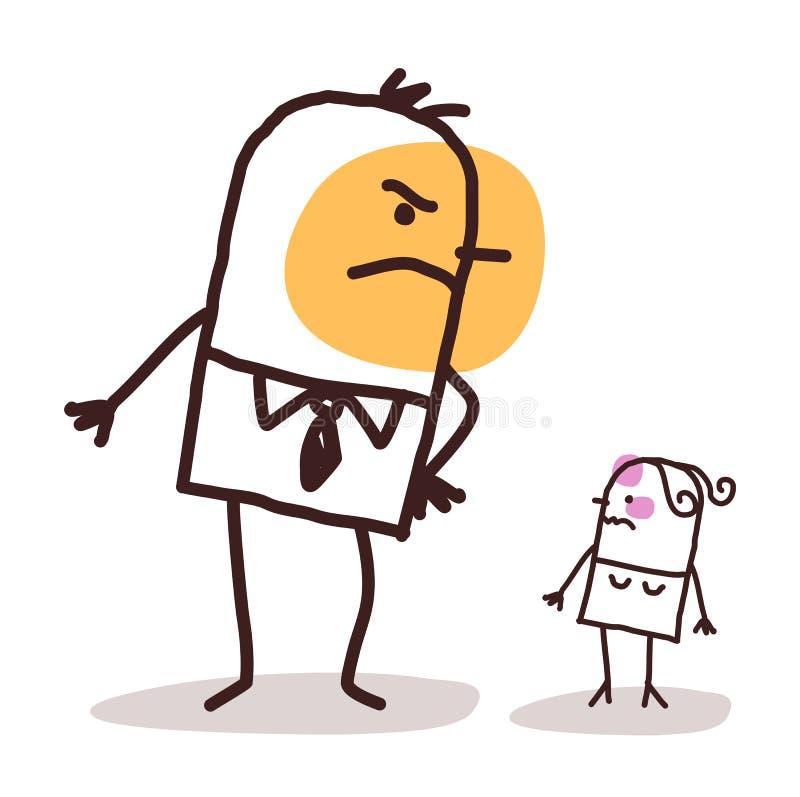 Stor ilsken man för tecknad film mot en liten sårad kvinna royaltyfri illustrationer