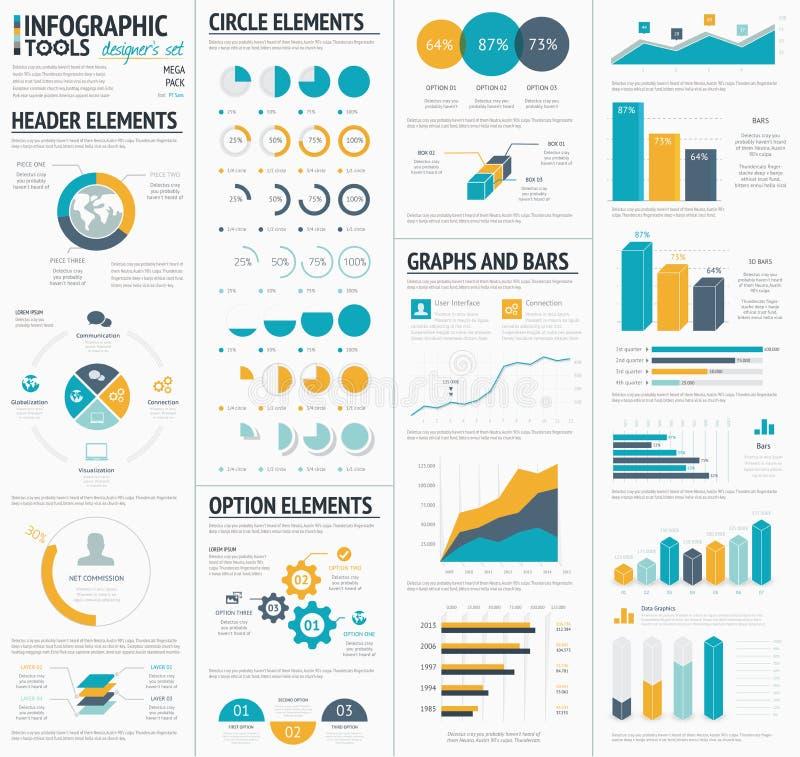 Stor infographic designe för vektorbeståndsdelmall vektor illustrationer