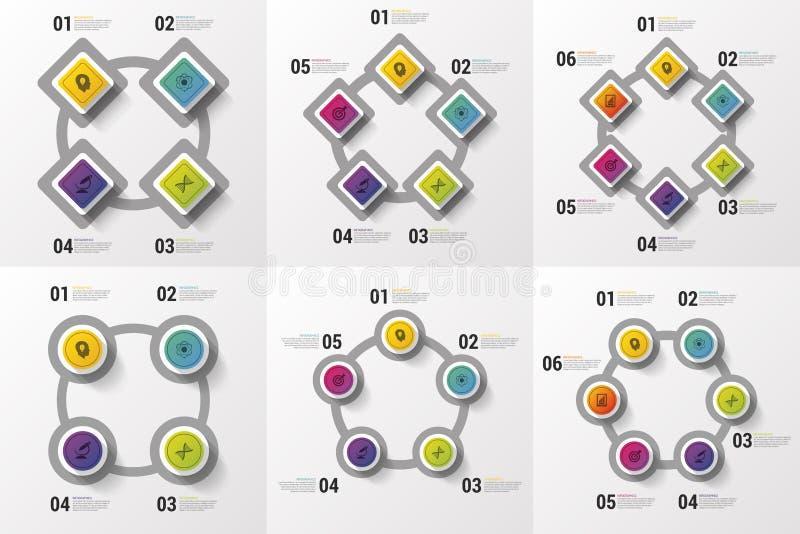 Stor Infographic uppsättning Beståndsdelar för affärsdesign Modernt färgrikt begrepp också vektor för coreldrawillustration royaltyfri illustrationer