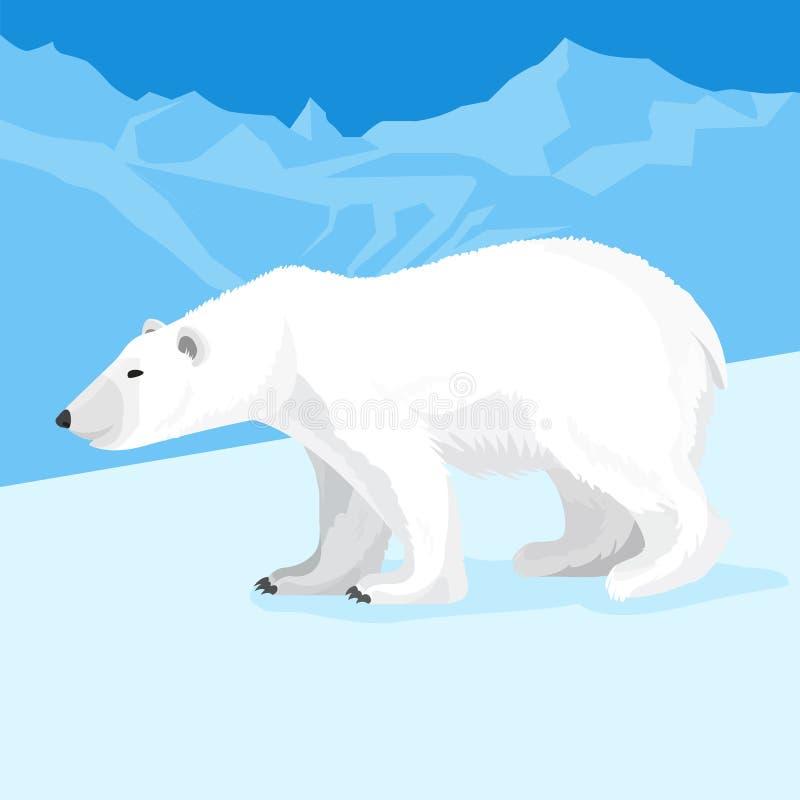 Stor isbjörn på nordpolentecknad filmstil också vektor för coreldrawillustration stock illustrationer