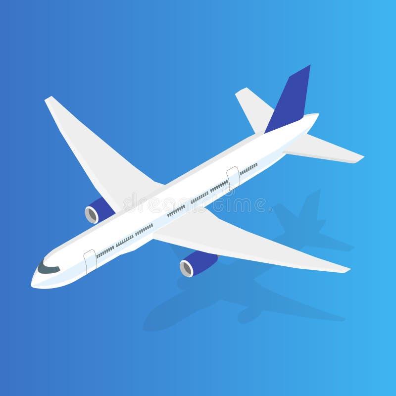 Stor isometrisk illustration för passagerareflygplan 3d Plan högkvalitativ transport vektor royaltyfri illustrationer