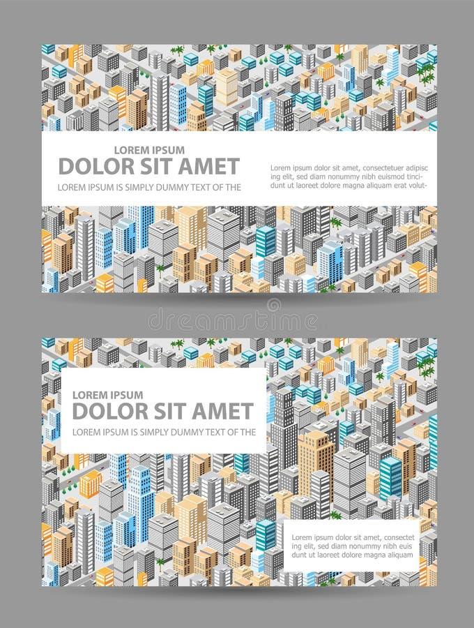 Stor isometrisk stad vektor illustrationer