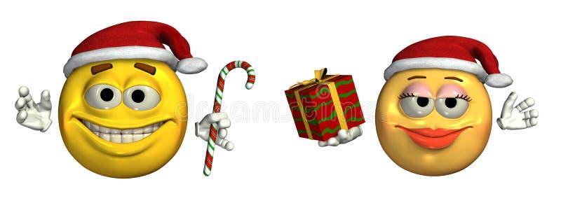 stor jul som fäster emoticonsinclu ihopdes path royaltyfri illustrationer
