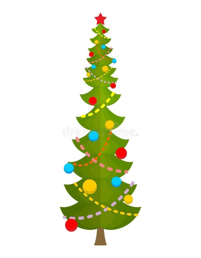 stor jultree enorm gran Stor gran Vektor Illu för nytt år royaltyfri illustrationer