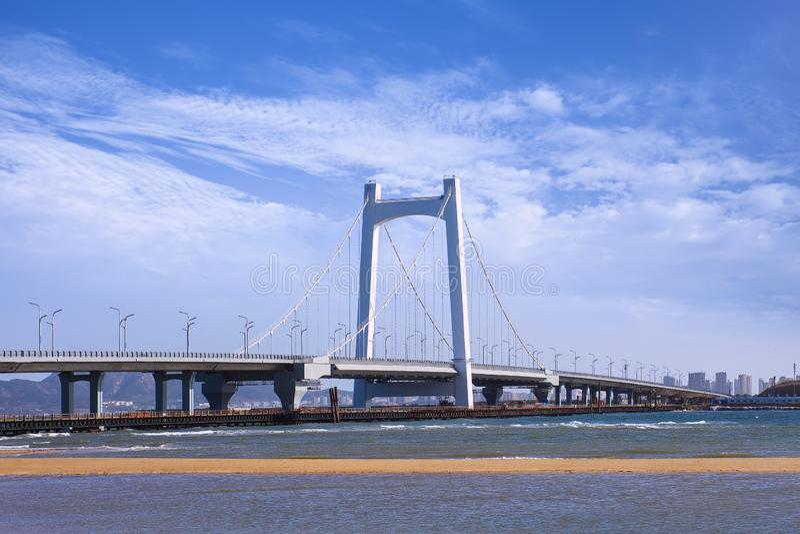 Stor kabel-bliven bro mot en blå himmel, Yantai, Kina royaltyfria bilder