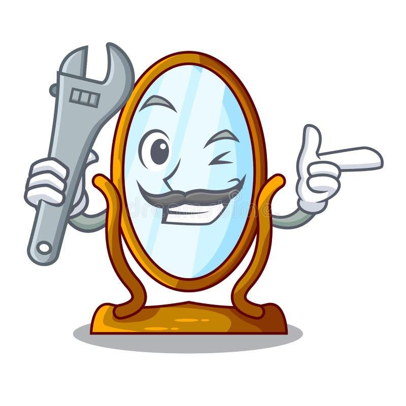 Stor klä spegel för mekaniker som isoleras på maskot royaltyfri illustrationer