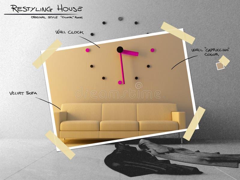 Stor klocka på sofaen för restyling projektplan vektor illustrationer