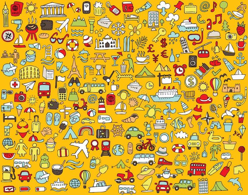 Stor klottrad lopp- och turismsymbolssamling stock illustrationer