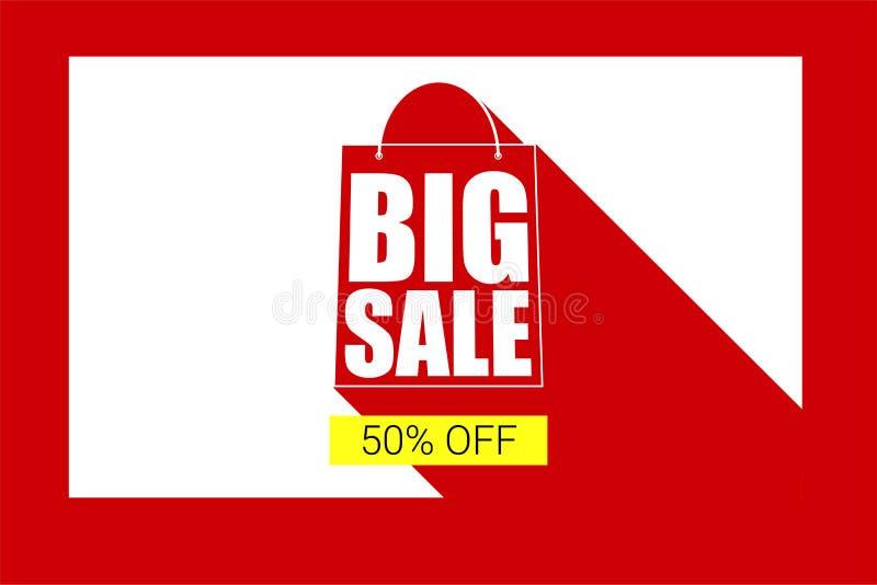 Stor kontur för försäljningsshoppingpåse med lång skugga Avfärda femtio procent på en gul knappbakgrund, sälja banret vektor illustrationer