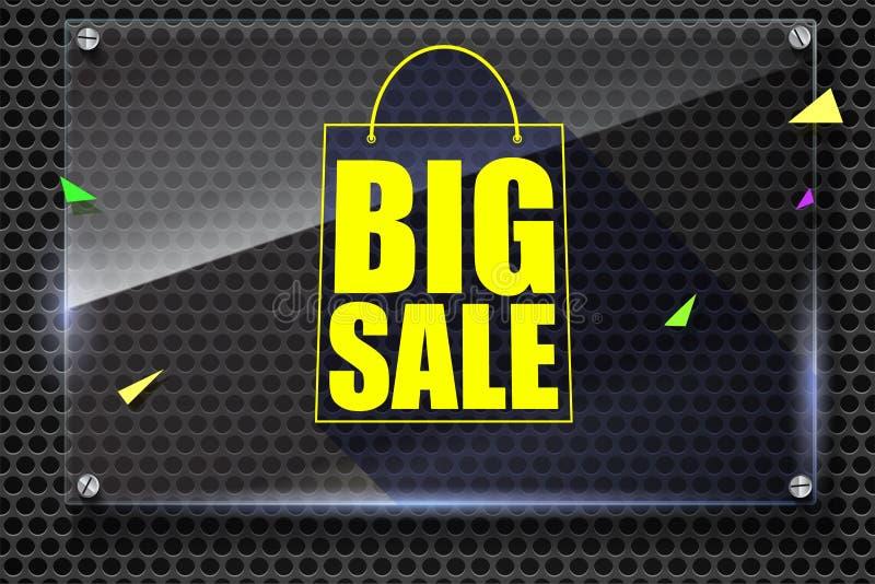 Stor kontur för försäljningsshoppingpåse med lång skugga rabatt femtio procent Horisontalglass platta på stålbakgrund stock illustrationer