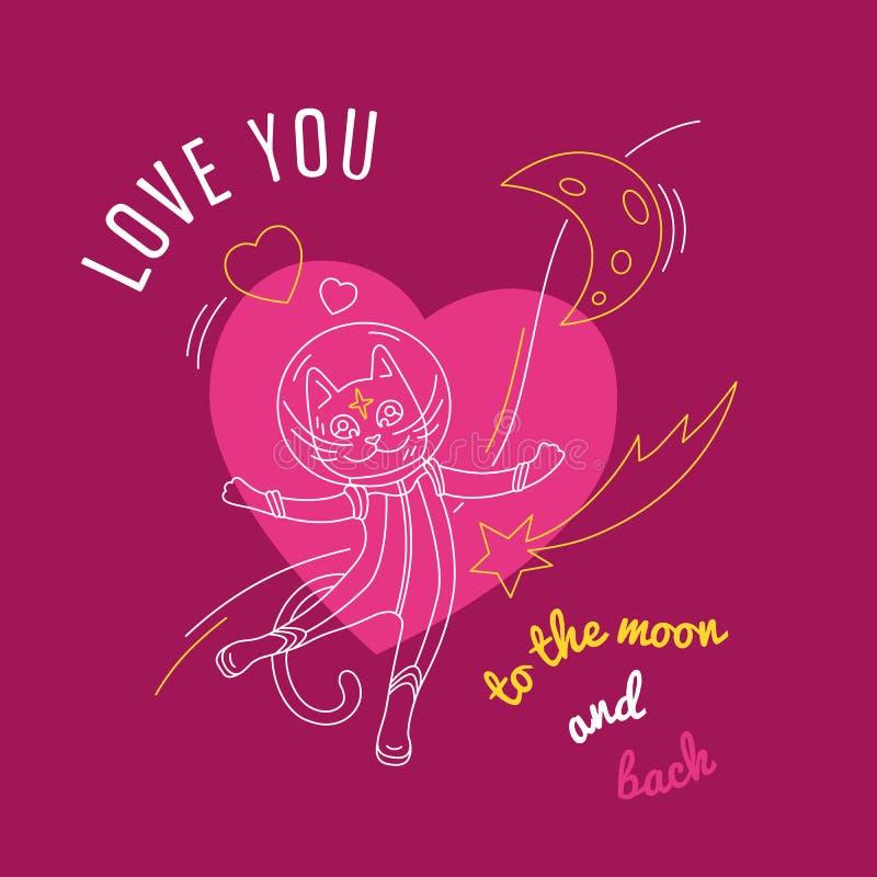 Stor kosmisk förälskelse: katt med hjärta- och citationsteckenförälskelse dig till månen och baksidan stock illustrationer