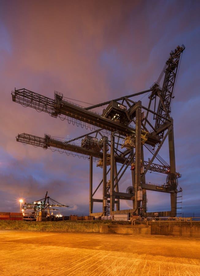 Stor kran på behållareterminalen på natten, port av Antwerp royaltyfri bild