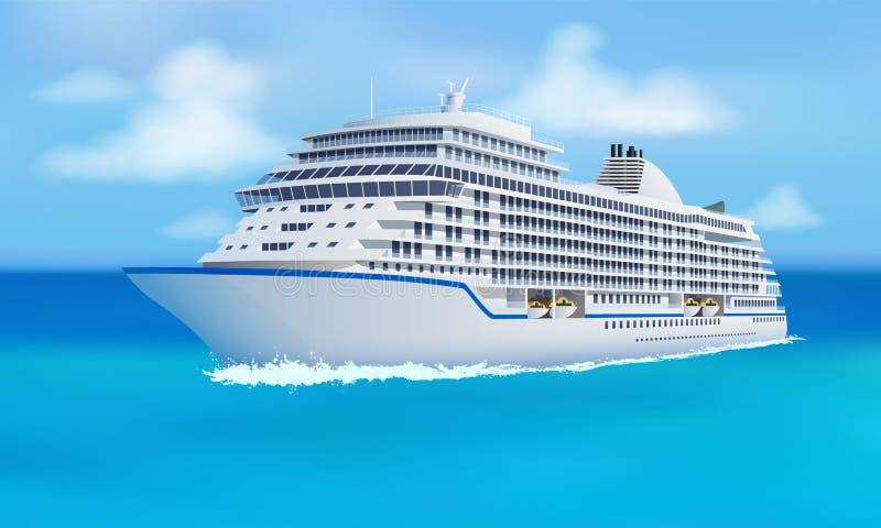 Stor kryssningeyeliner, hav, blå himmel i plan stil stock illustrationer