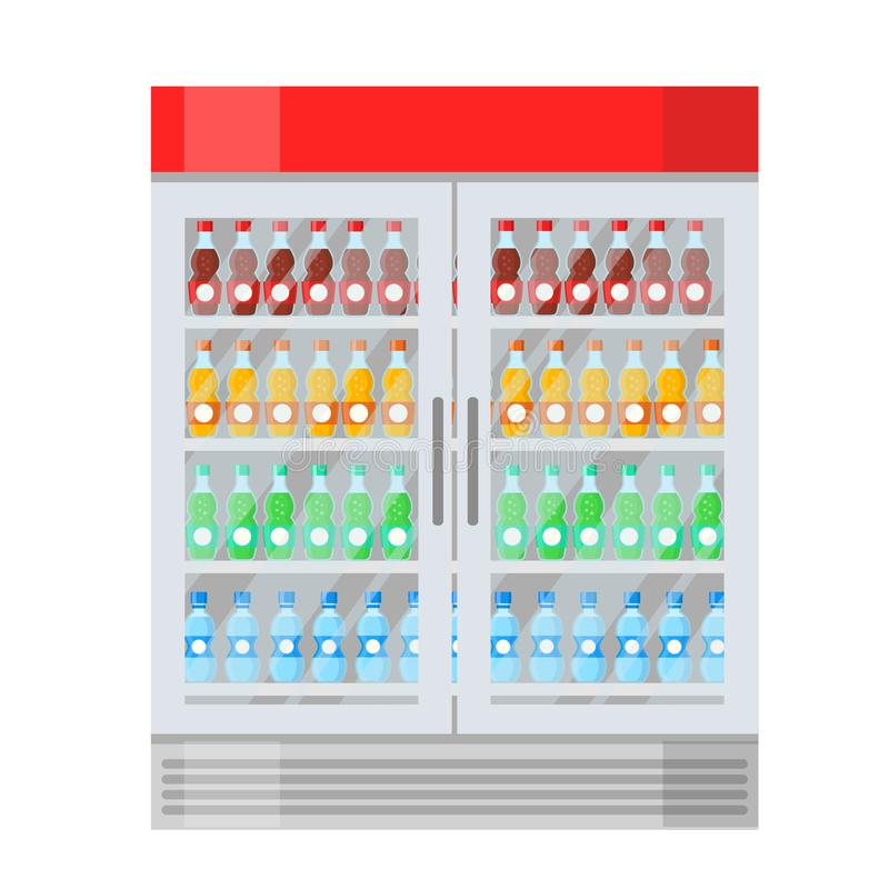 Stor kyl med olika flaskor av fruktsaft, vatten och drinkar i plan stil f?r tecknad film p? vitt, materielvektorillustration royaltyfri illustrationer