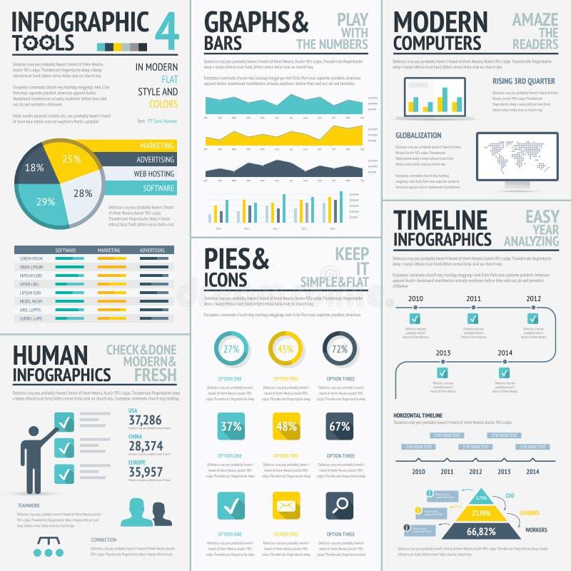 Stor lägenhet färgad infographic beståndsdelvektoruppsättning royaltyfri illustrationer