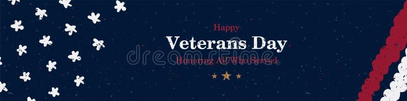 Stor lång banerveterandag Hälsningkort med USA flaggan på bakgrund med textur Nationell amerikansk feriehändelse Plan vektor vektor illustrationer