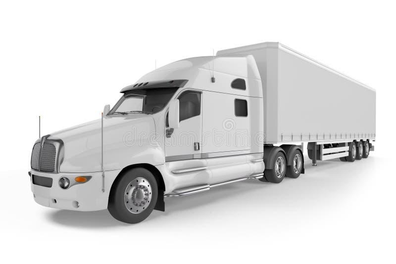 Stor lastbilsläp - på vit bakgrund royaltyfri illustrationer