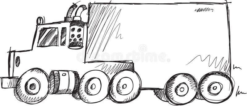 Stor lastbilvektor för klotter stock illustrationer