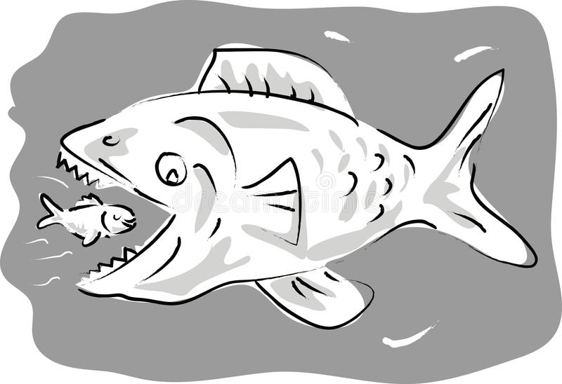 stor liten ätafisk stock illustrationer