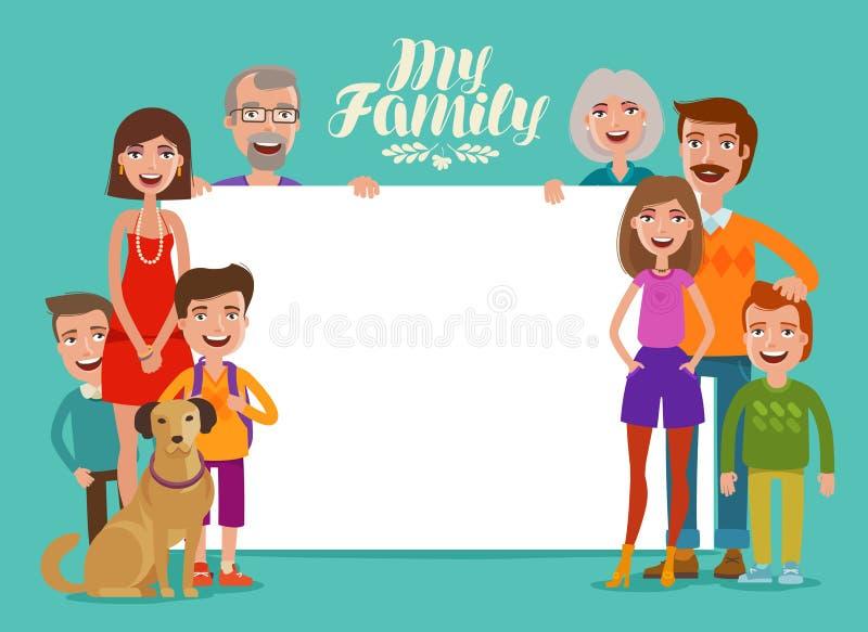 Stor lycklig familj, baner Folk, föräldrar och barn Designmall för inbjudan eller lyckönskan cartoon vektor illustrationer